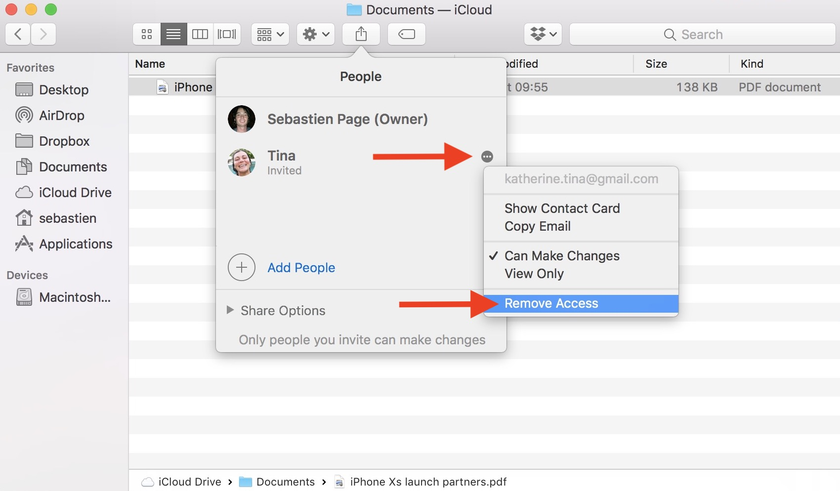 Remove icloud drive doc access for one person on Mac