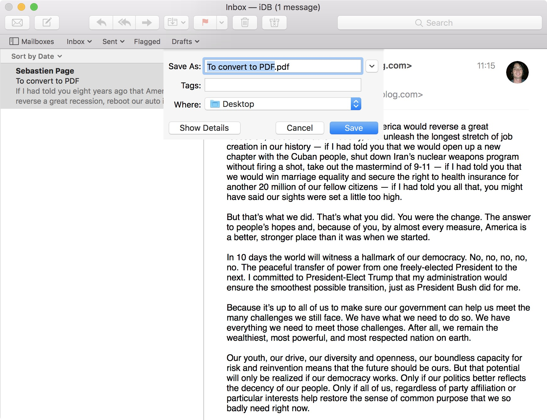 convert and save an email as PDF on Mac