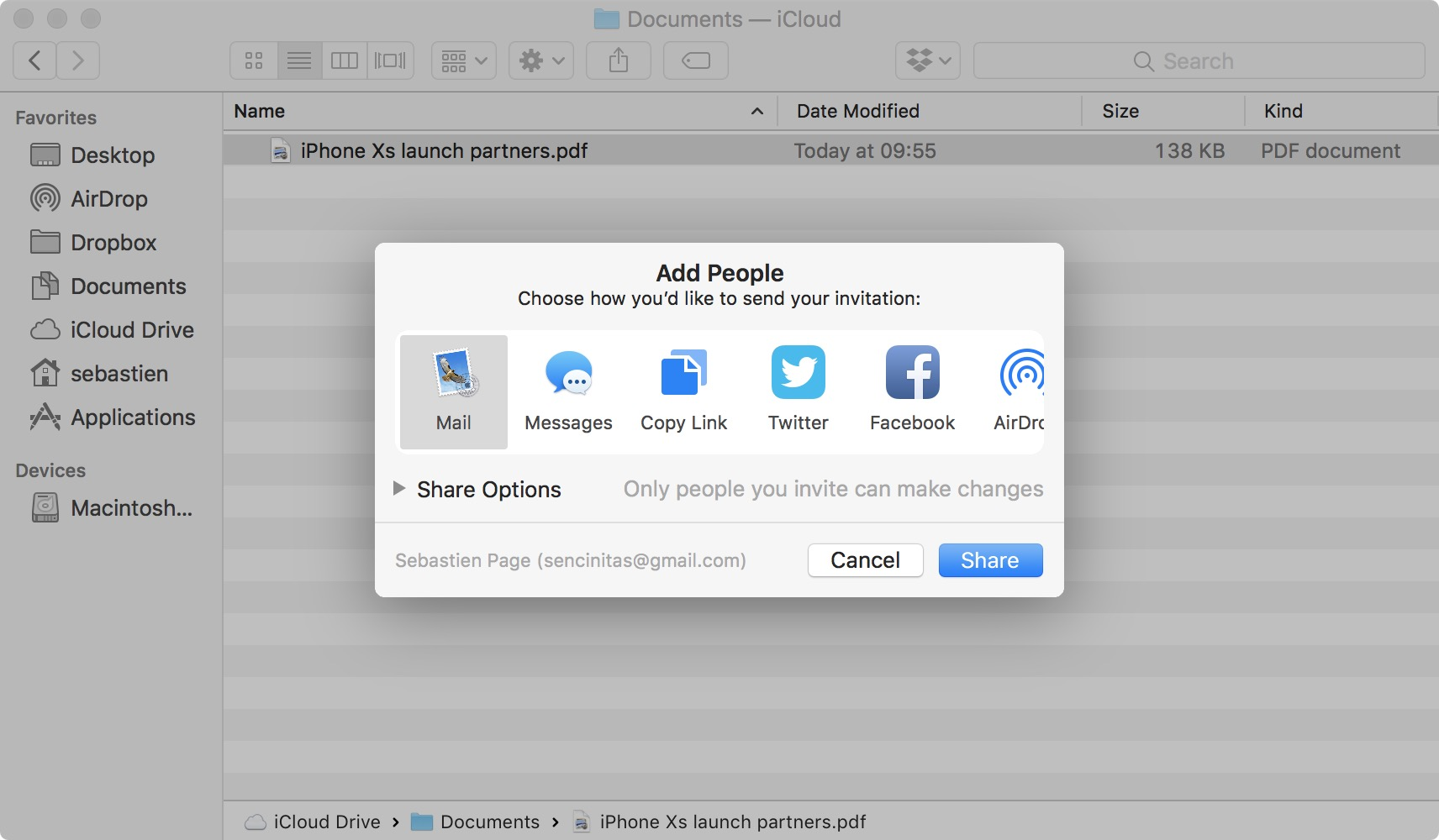 Selet sharing option for iCloud Drive file on Mac