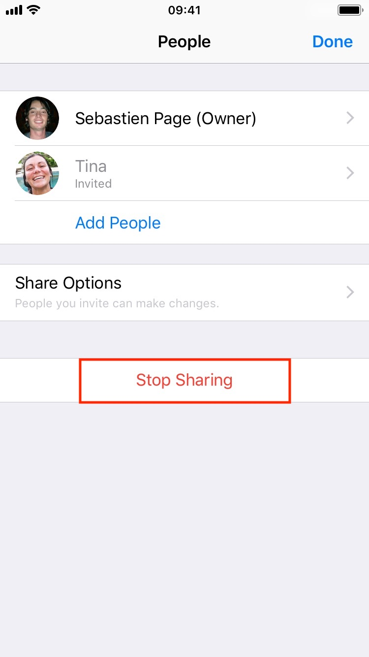 Stop sharing file with everyone on iOS