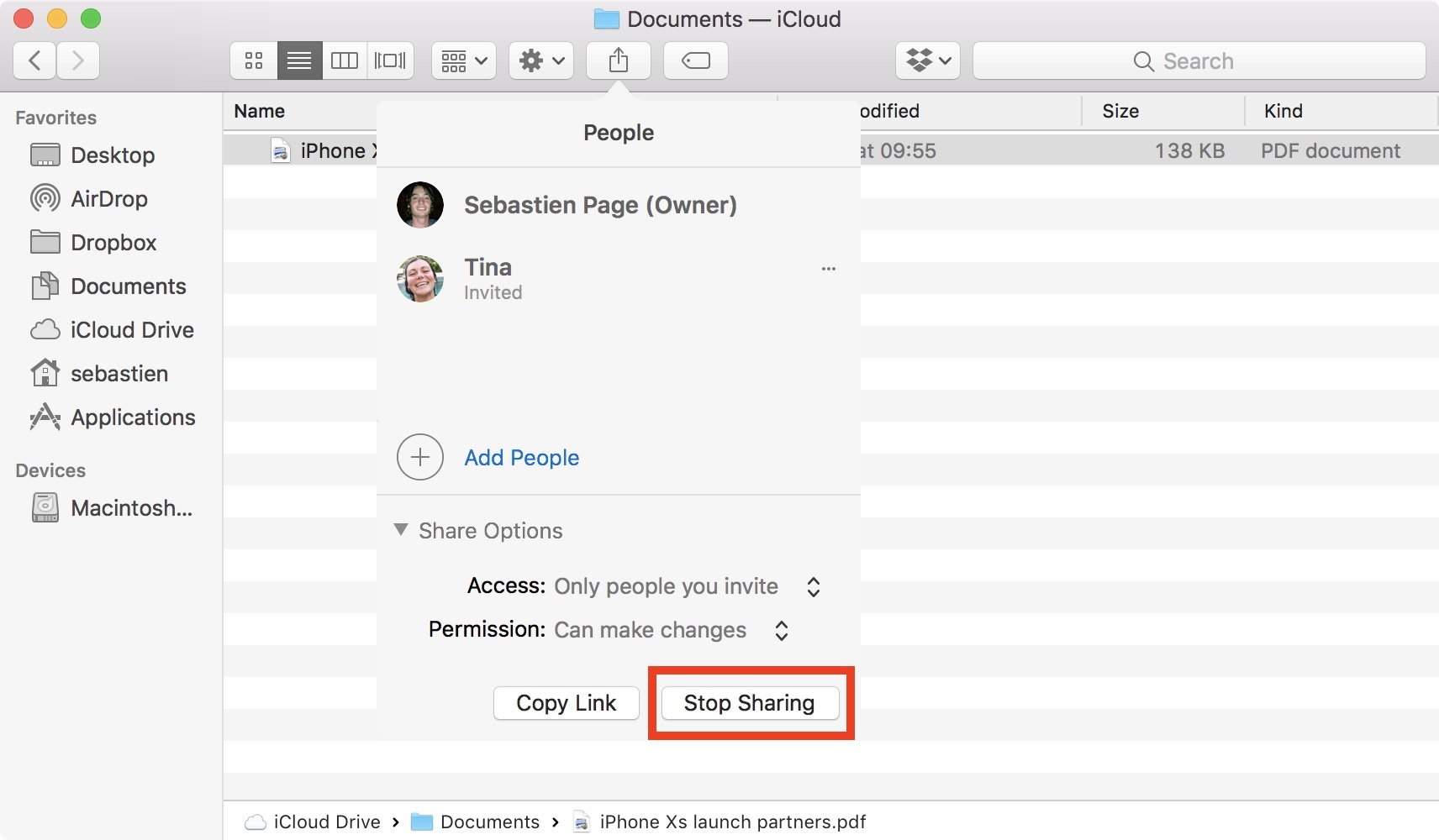 Stop sharing icloud drive document with everyone on Mac