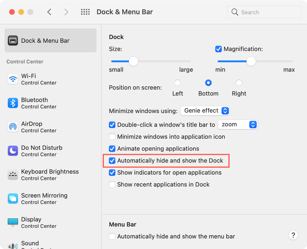 System Preferences Hide and Show the Dock on Mac