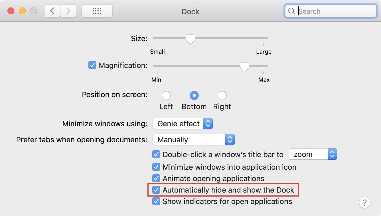 automatically hide dock mac