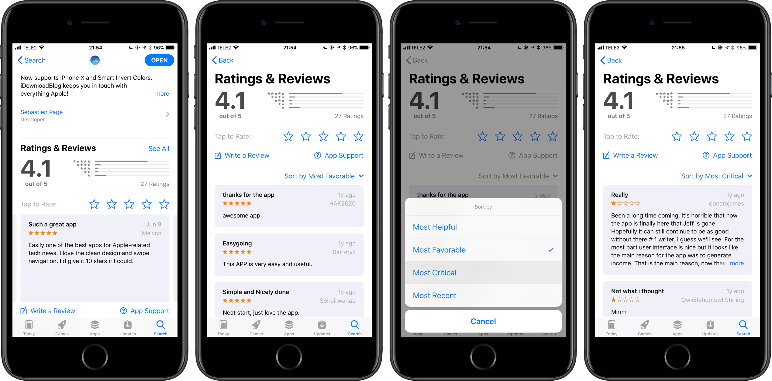 how to filter app store reviews