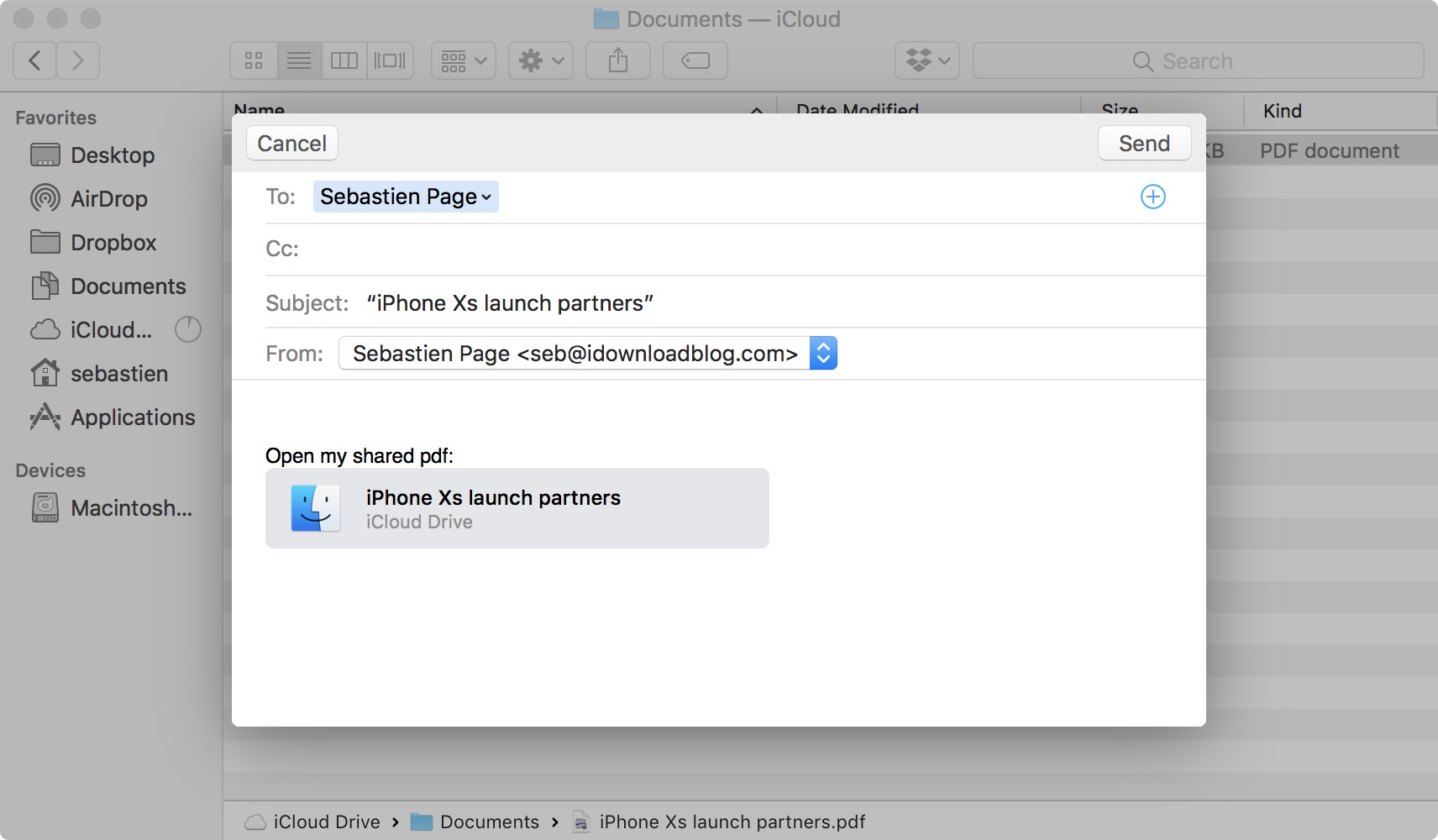Send file sharing invite for iCloud file doc on Mac