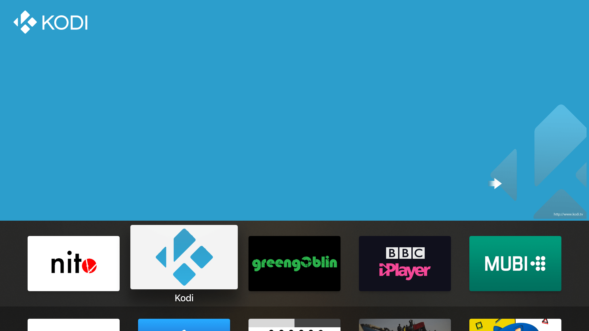 kodi on Home screen