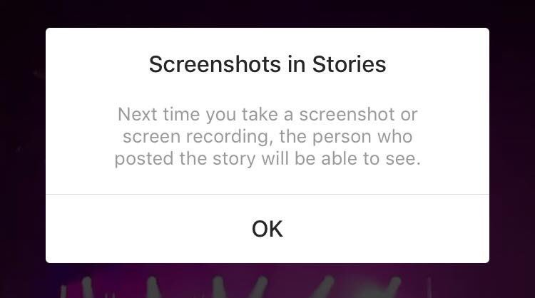 Instagram screenshots in stories