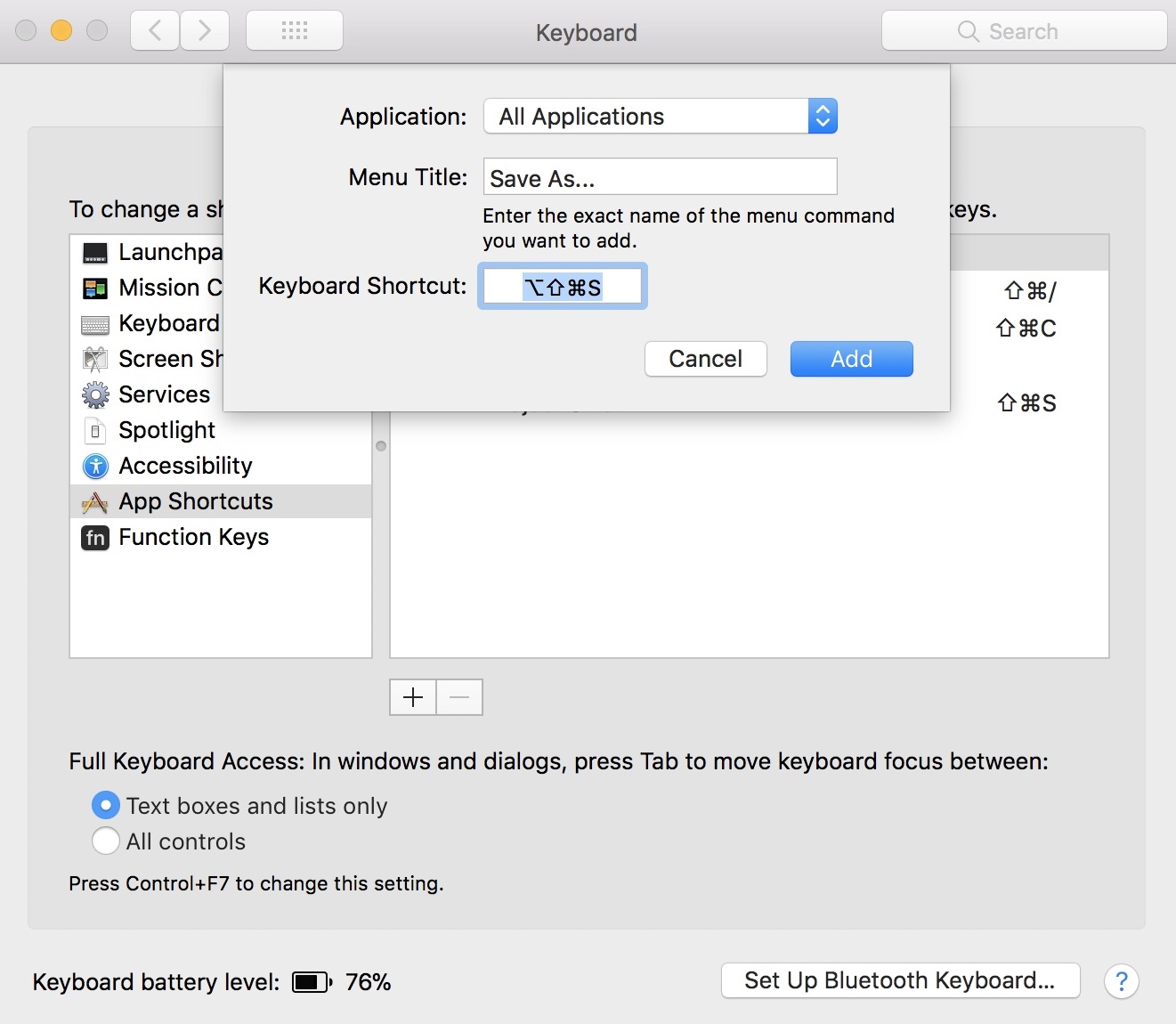 Create permanent Save As option on macOS