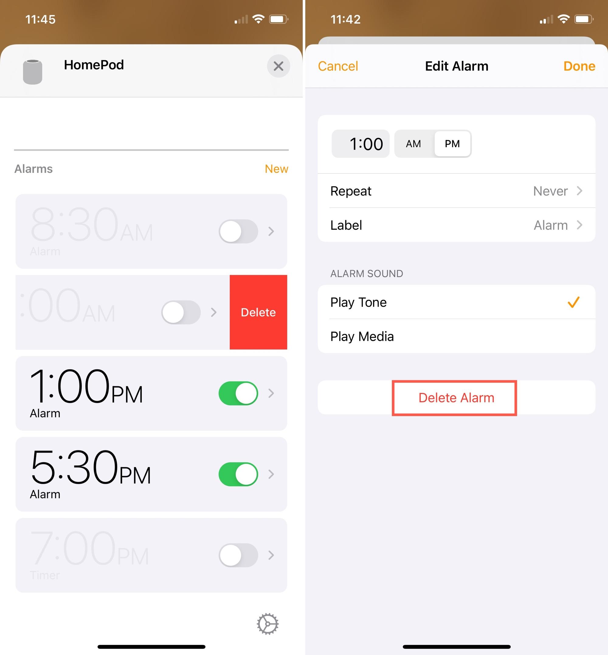 Delete HomePod Alarms on iPhone