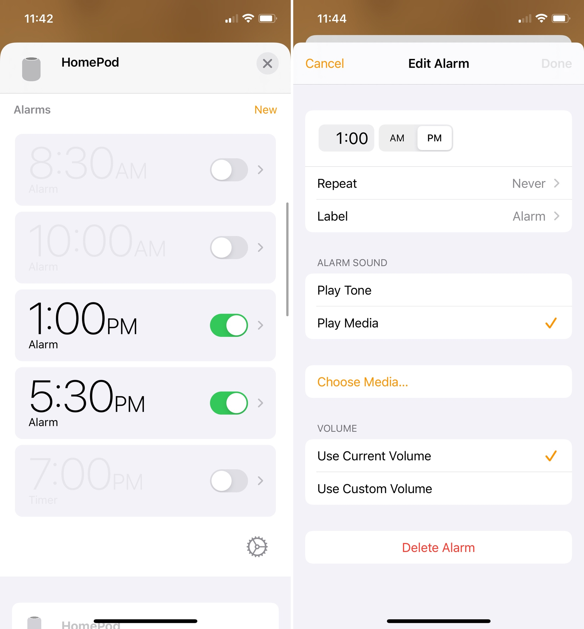 Edit HomePod Alarms on iPhone