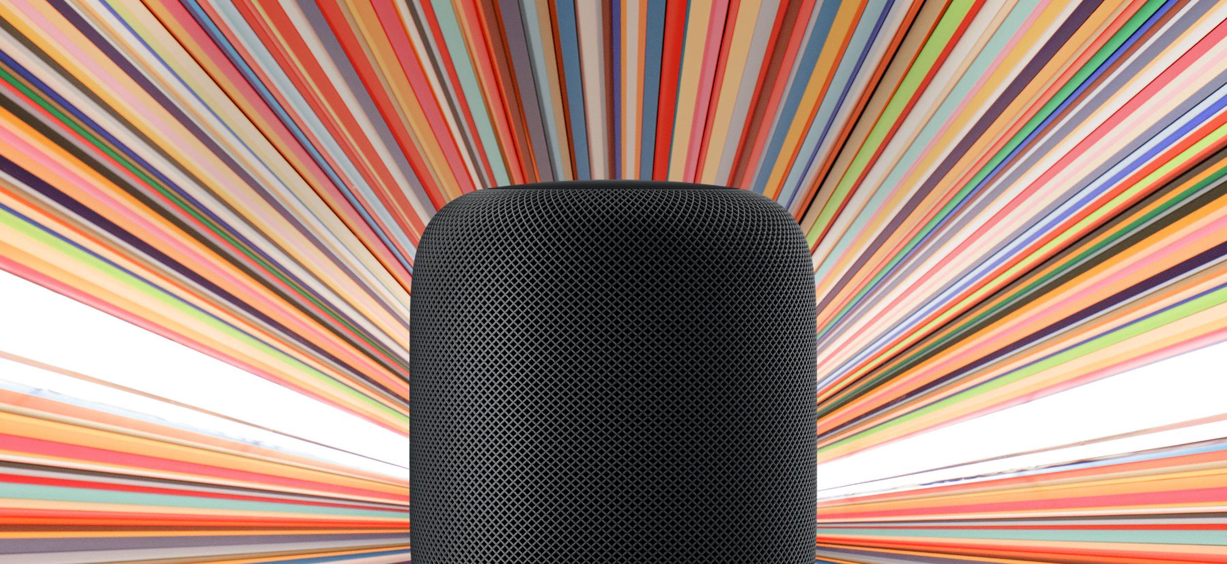 Apple's marketing image promoting the full-size HomePod smart speaker