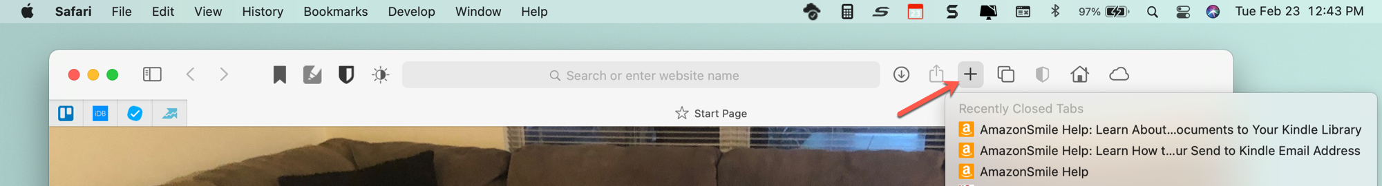 New Tab Button Safari Toolbar