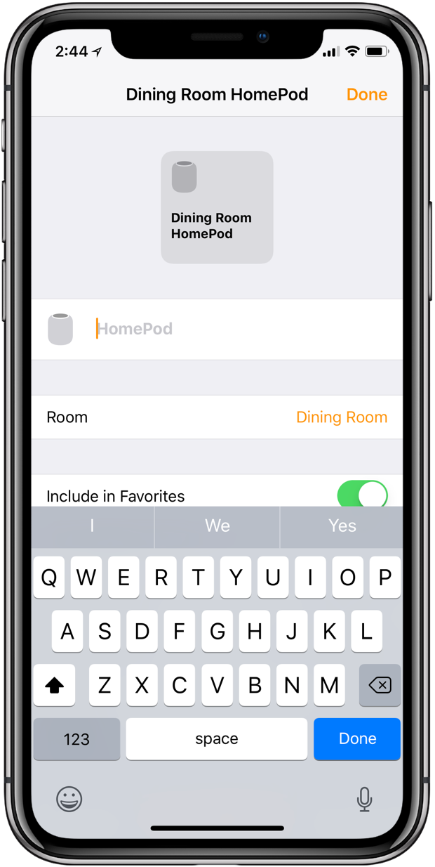 rename homepod with HomePod app