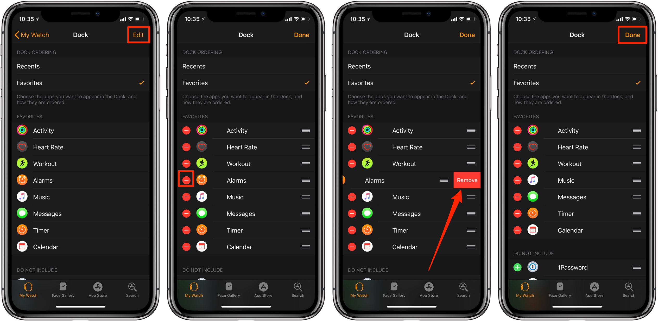 remove apps from Apple Watch Dock on iphone