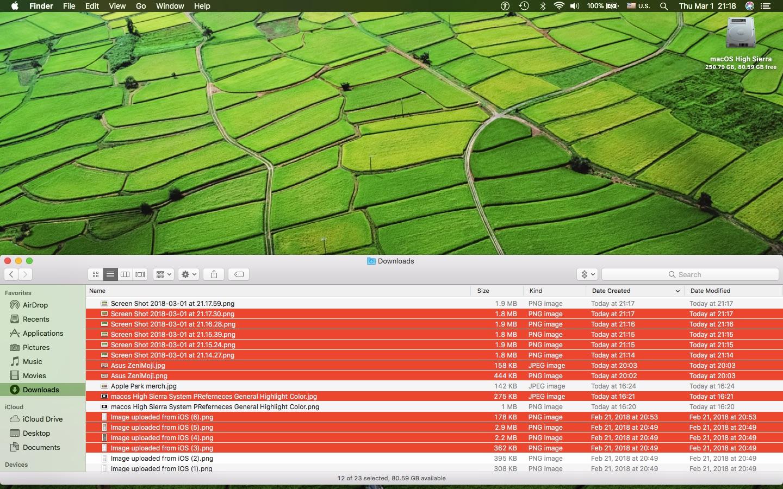 select multiple files on Mac