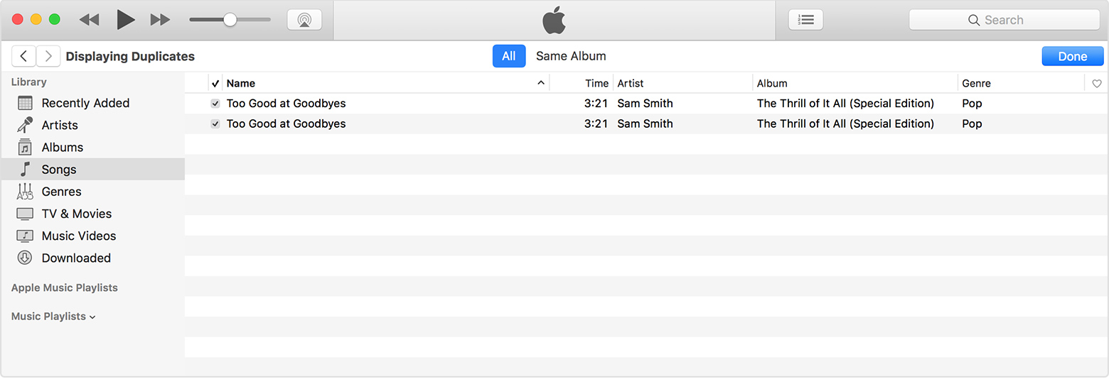 find variants of duplicate songs in iTunes