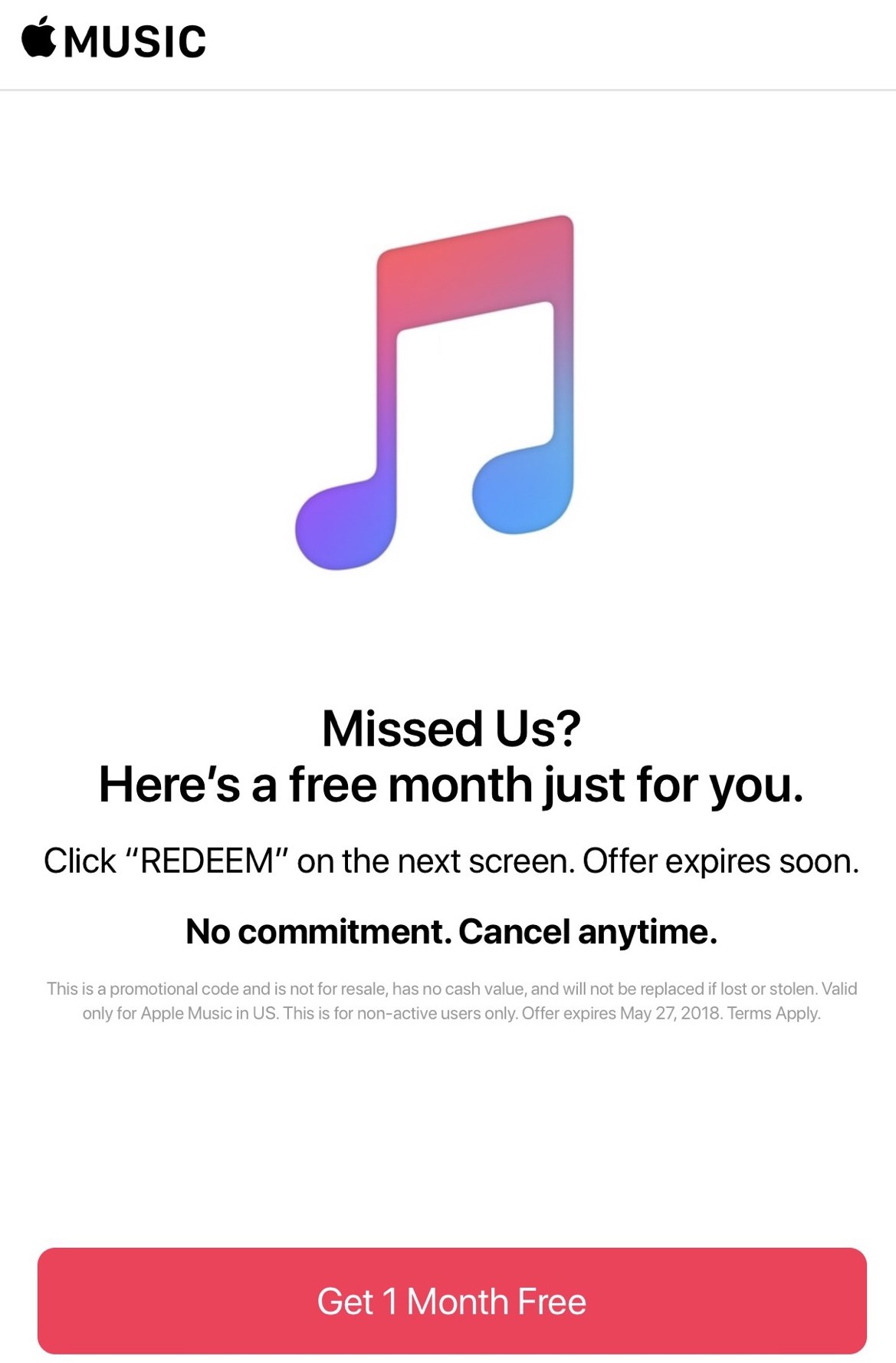 Apple Music offering extra free month to trial users who