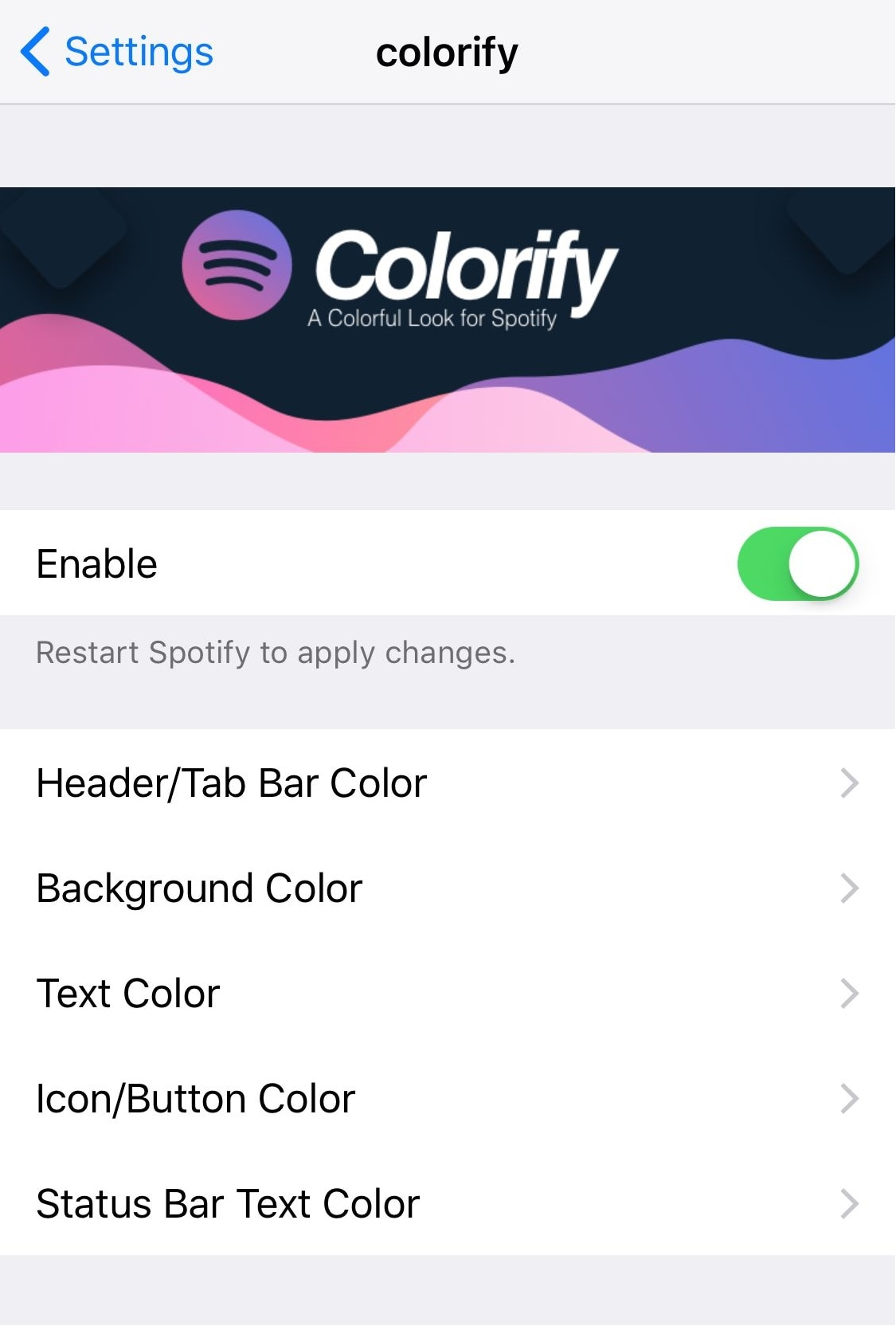 Give the Spotify app some color with this tweak