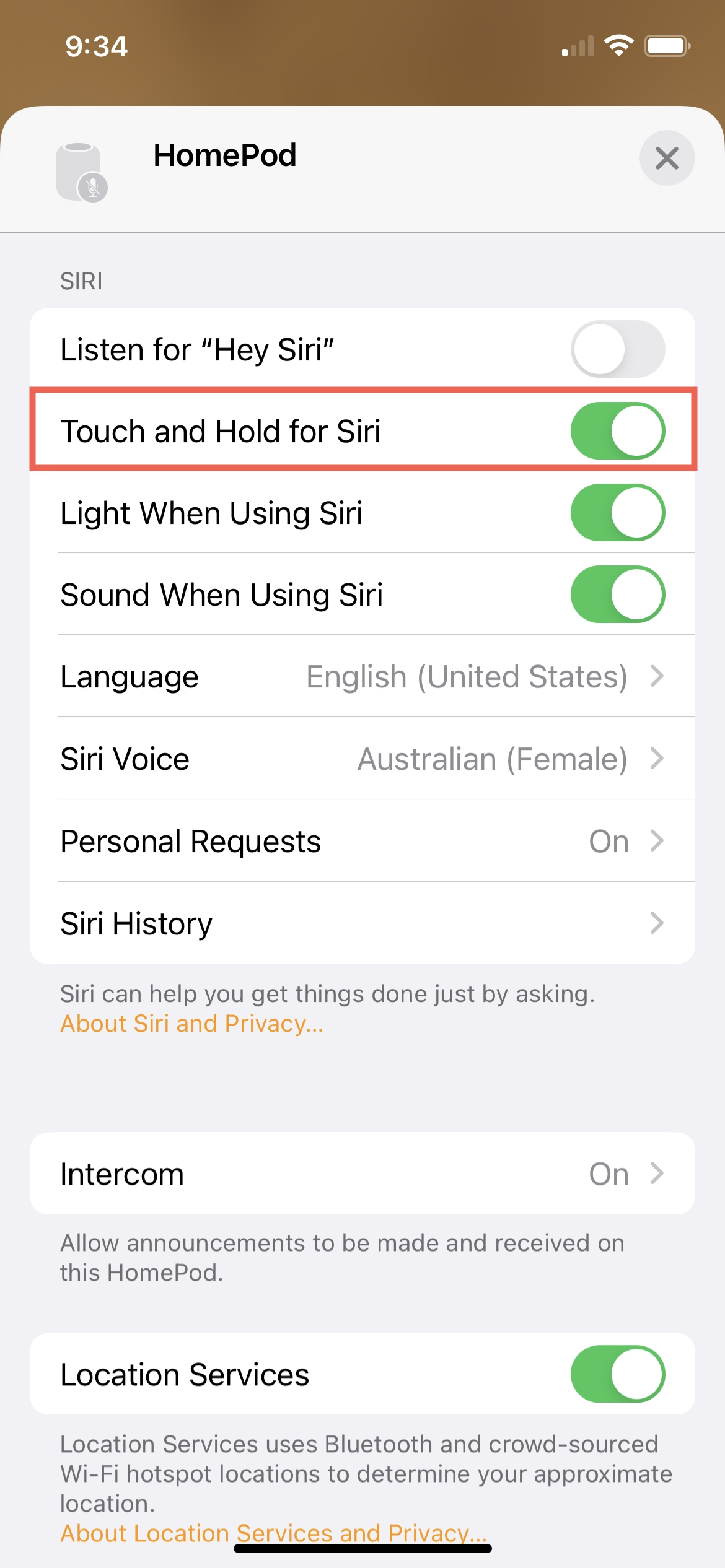 HomePod Touch and Hold for Siri On