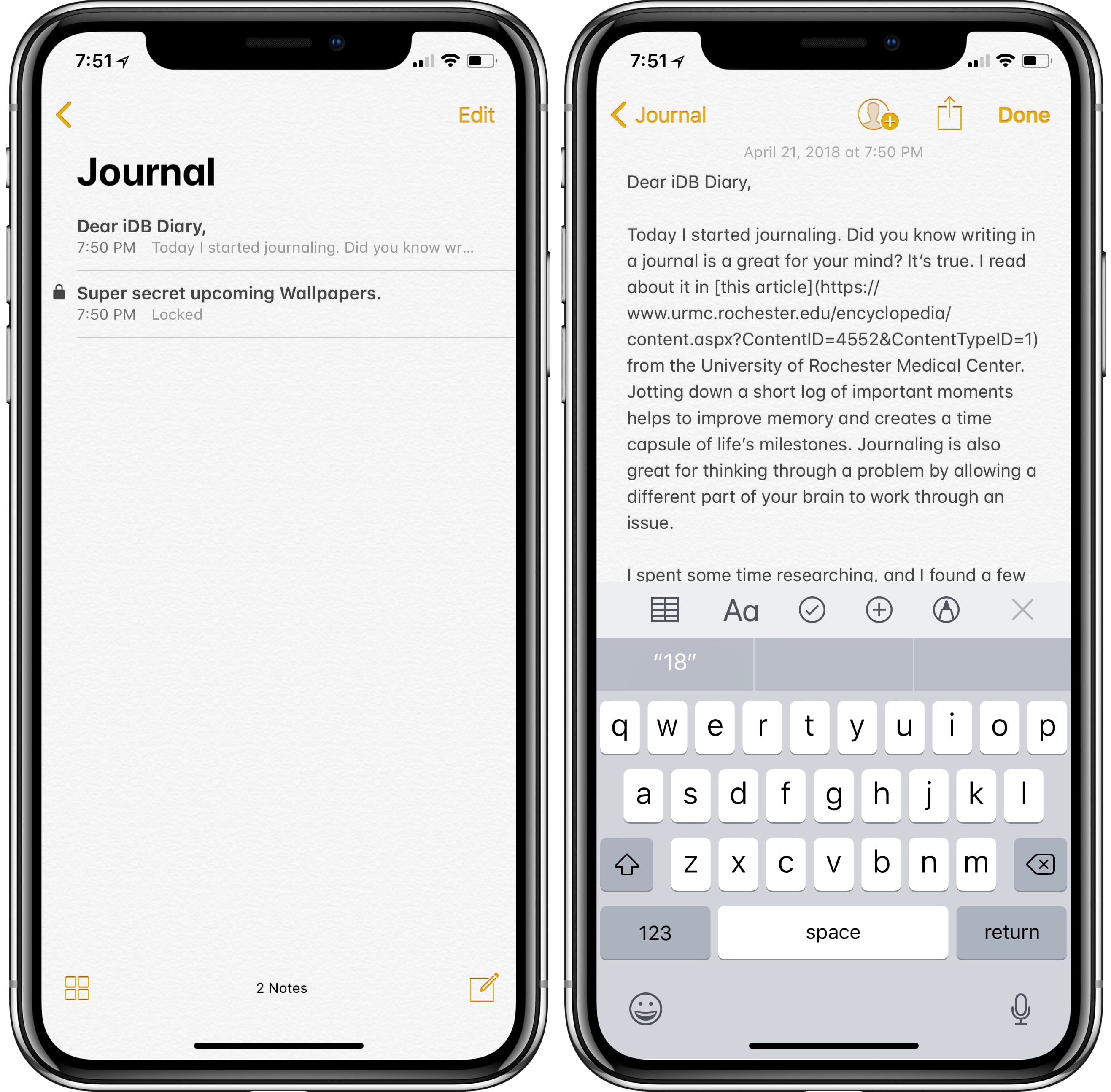 best journaling apps for iphone and ipad - Apple's Notes app works as a free journal on every iOS device