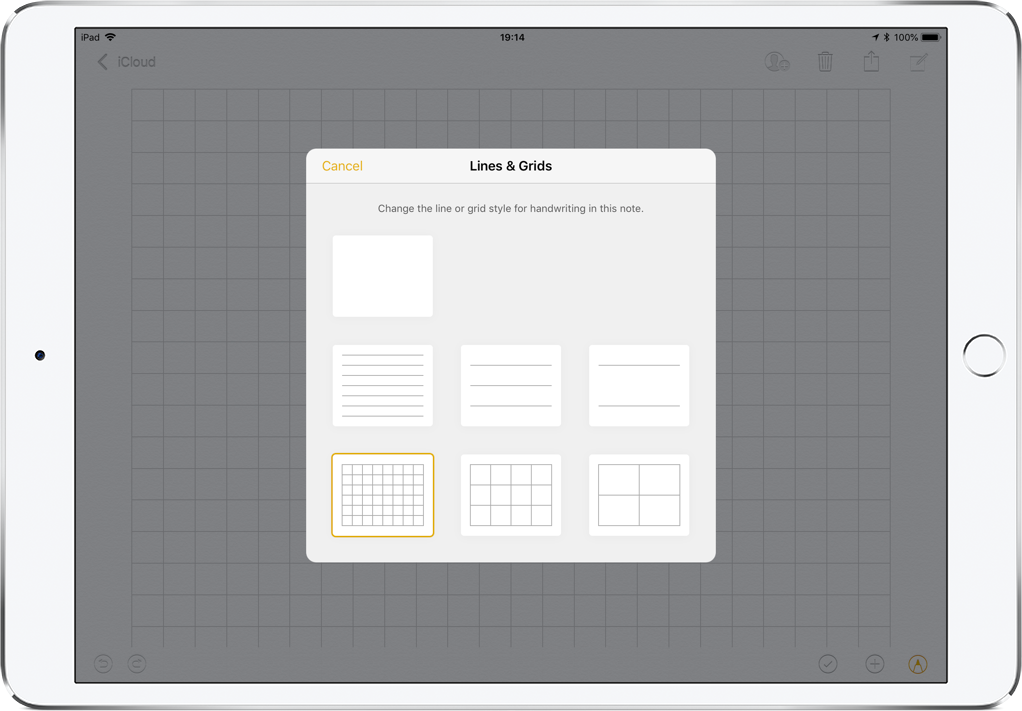 How to customize Notes app with lines or grids