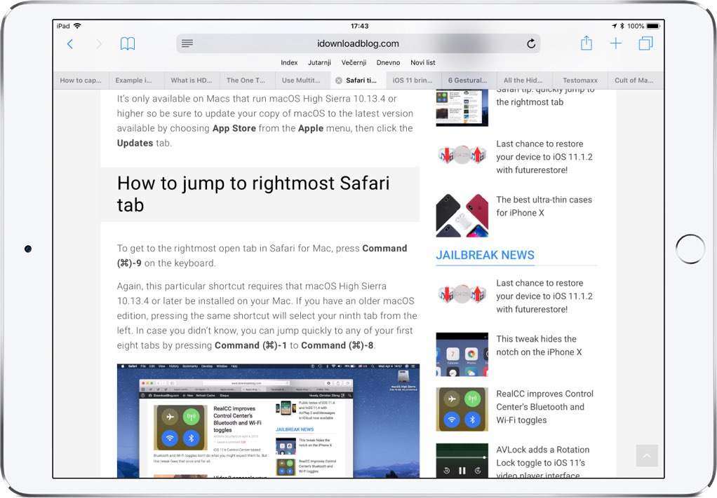safari gestures on ipad
