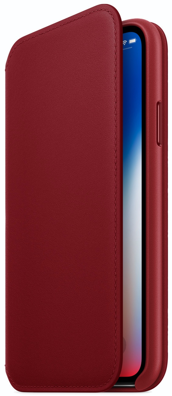new arrival 4fa59 47e18 PRODUCT)RED Leather Folio for iPhone X available beginning April 10