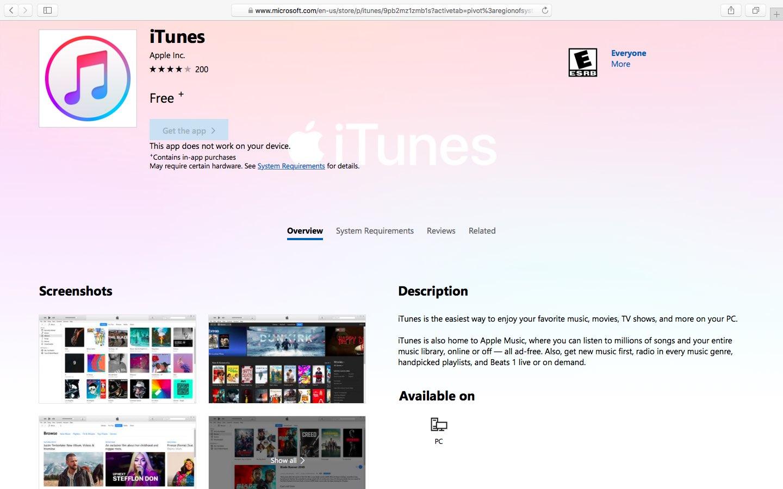 iTunes finally hits Microsoft Store