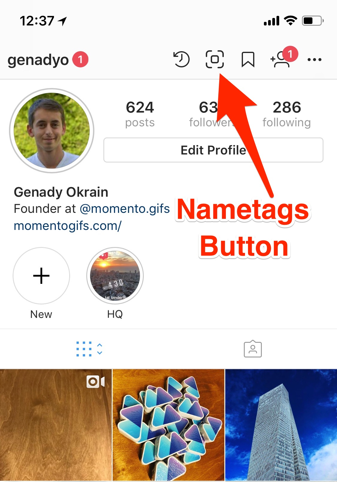 instagram testing nametags - nametags button