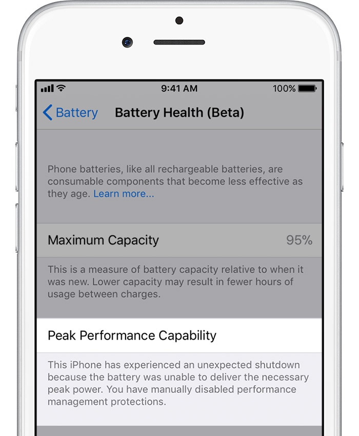 iphone battery health - peak performance