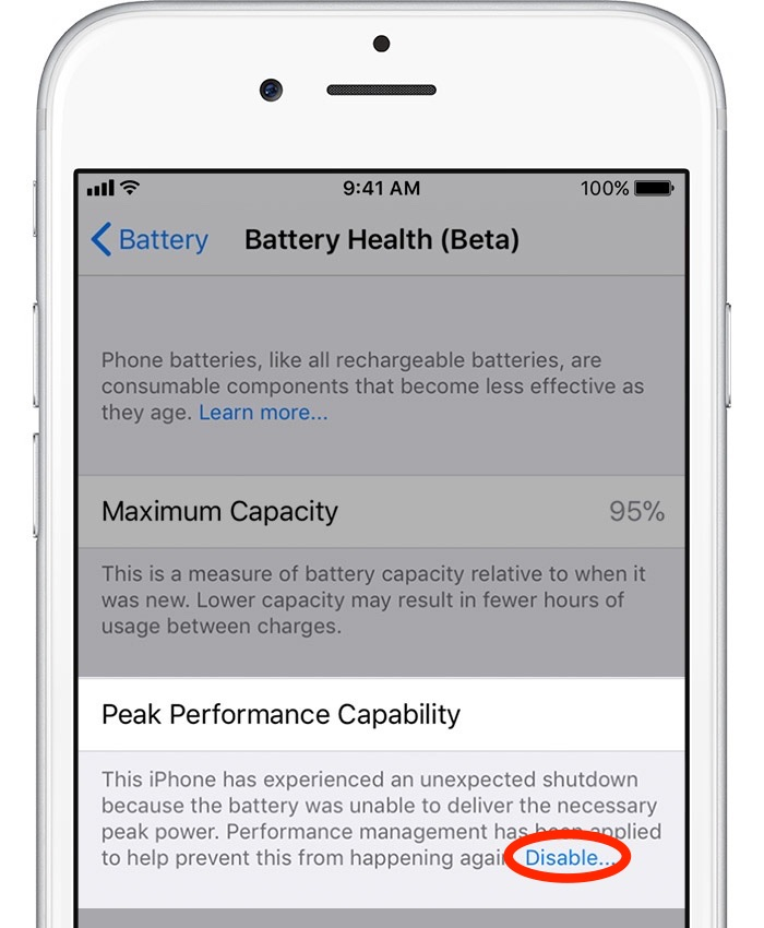 iphone battery health - disable peak performance