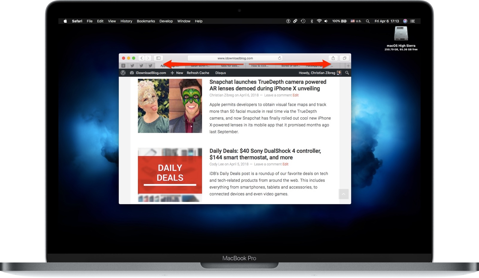 Safari tip: cycle through your open tabs with a gesture