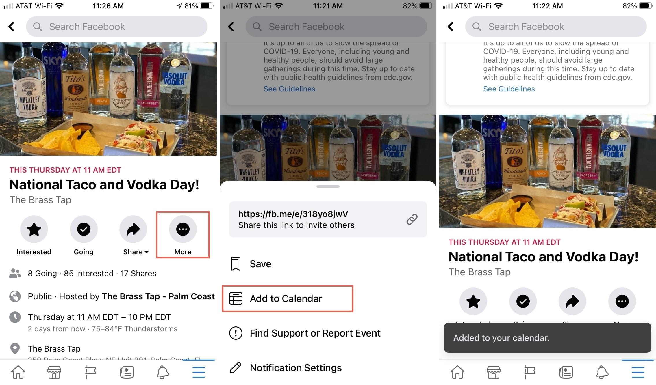 Add Facebook Event to iPhone Calendar