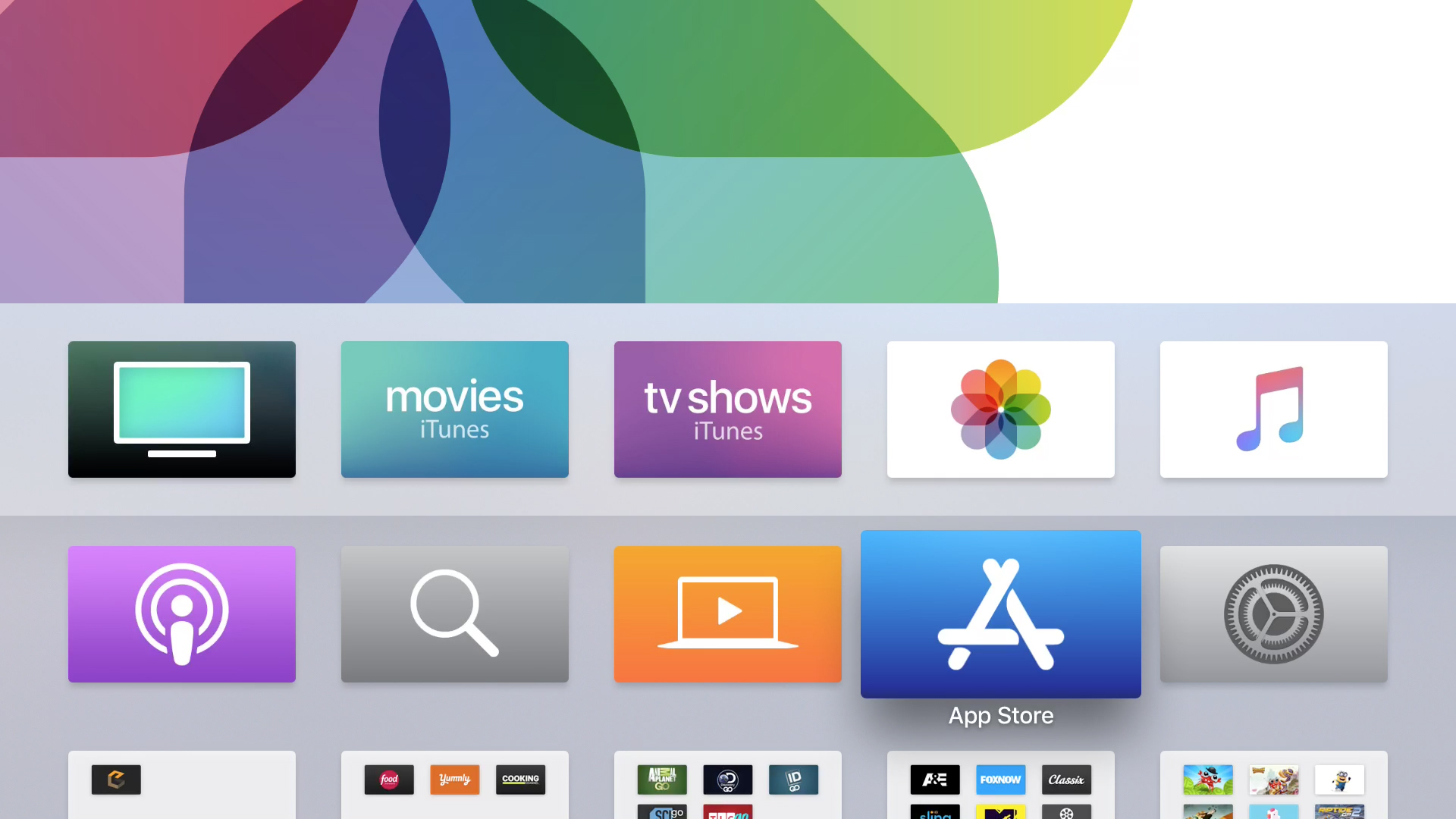 Apple TV main screen