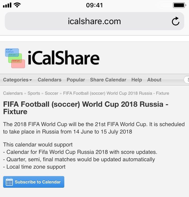 FIFA soccer 2018 calendar