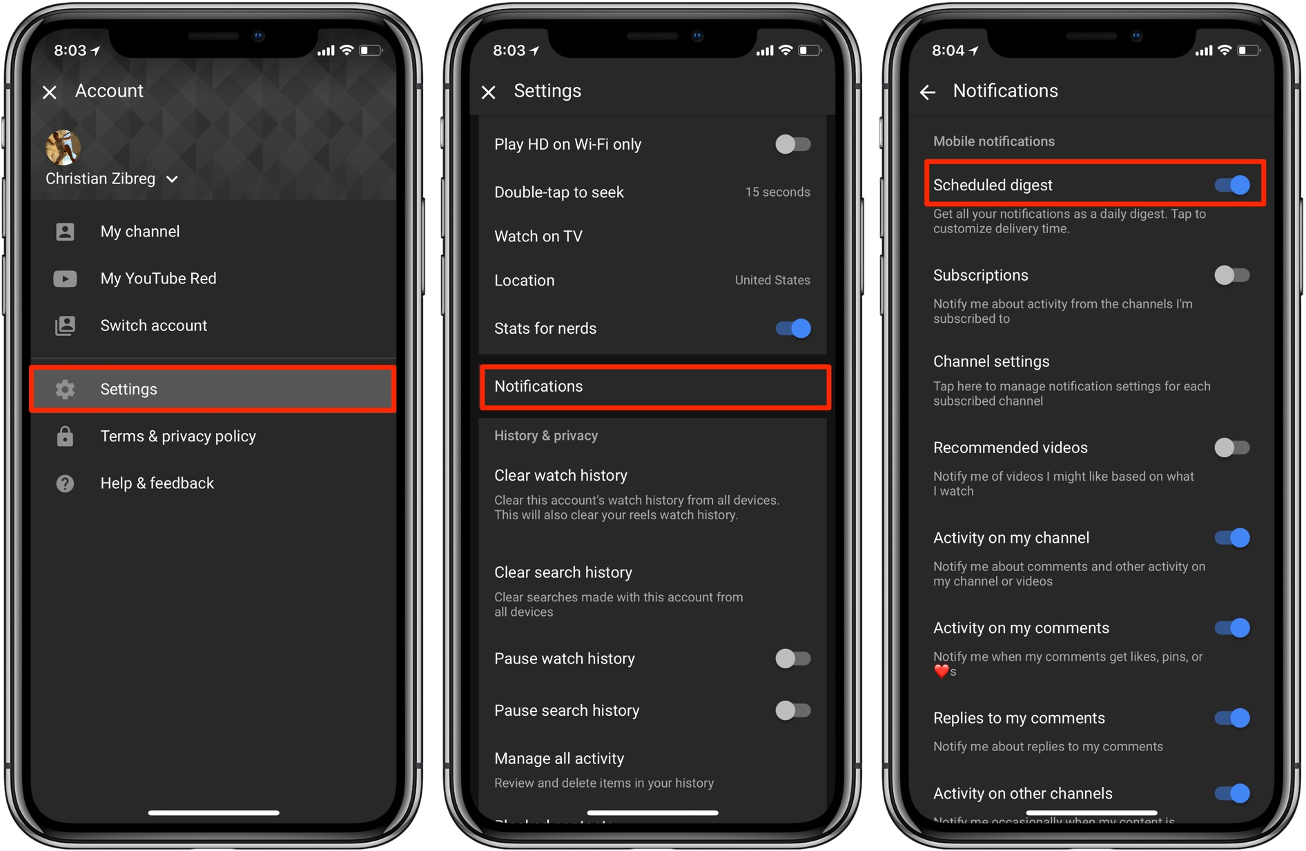 YouTube scheduled digest enable