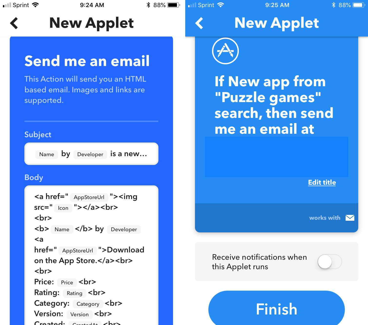IFTTT Finish Applet Creation