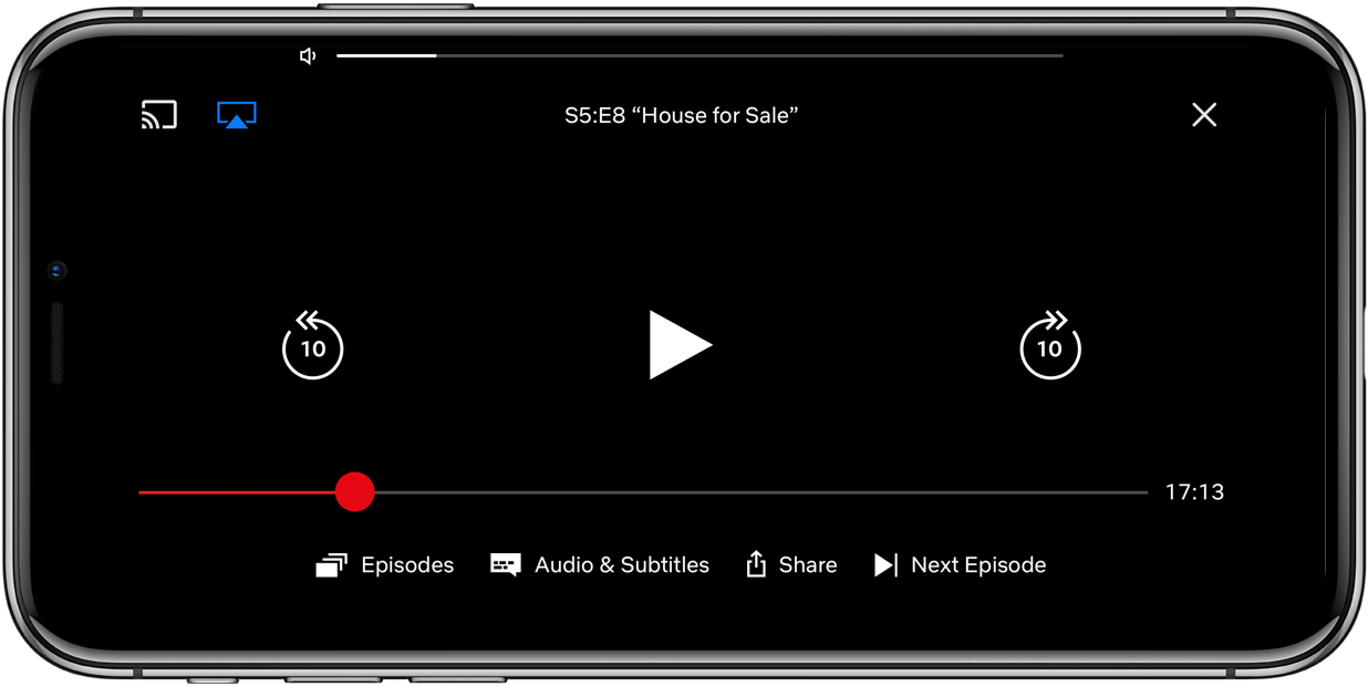 Netflix iPhone unobtrusive volume slider