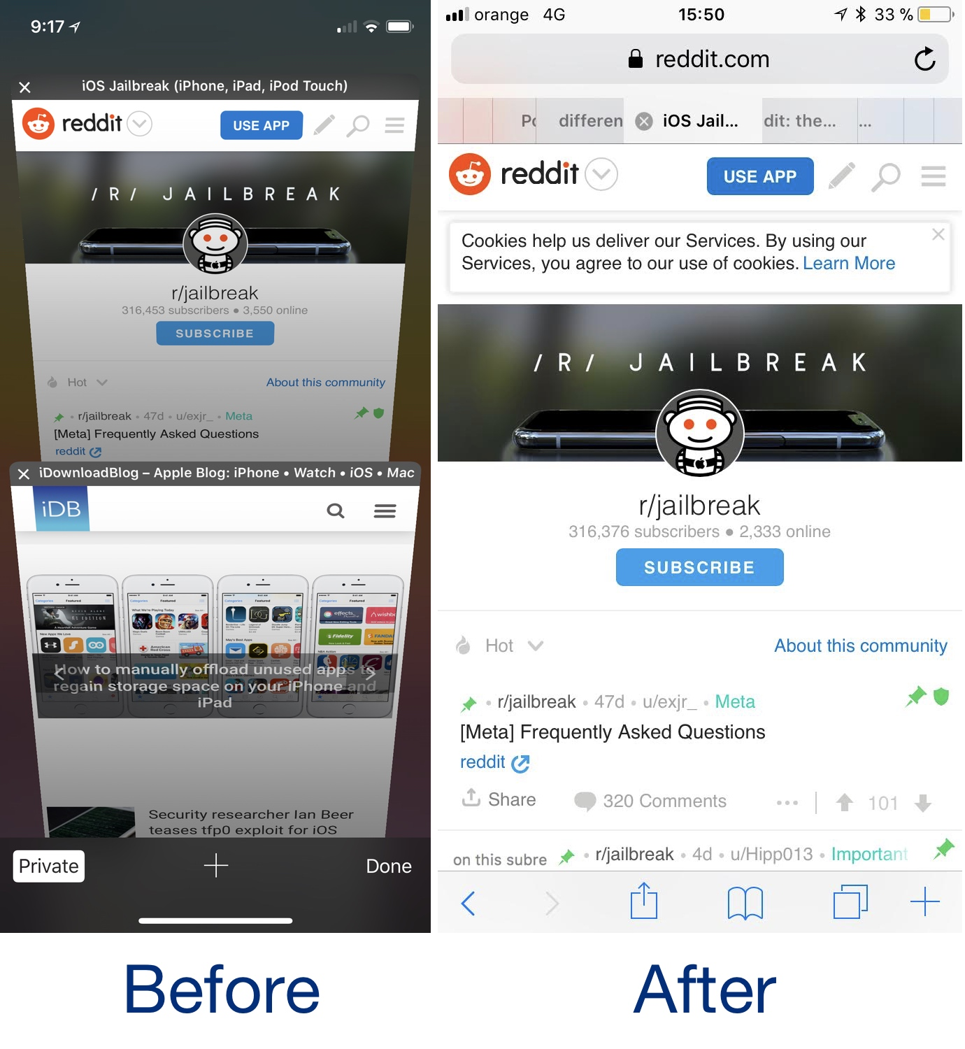 SafariPad before and after - iOS 11 Uyumlu 9 Yeni Tweak