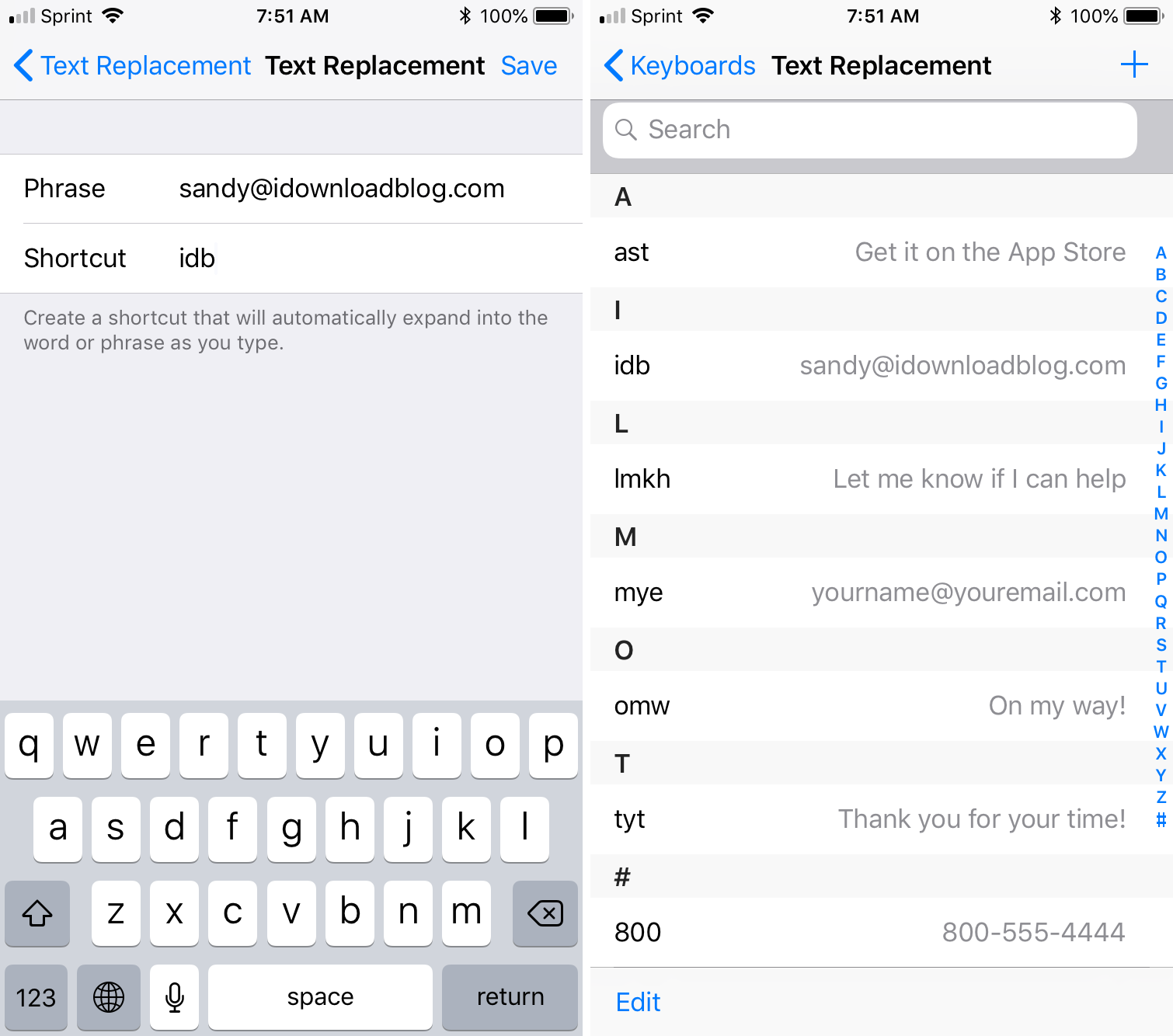 Set up text replacements on iPhone