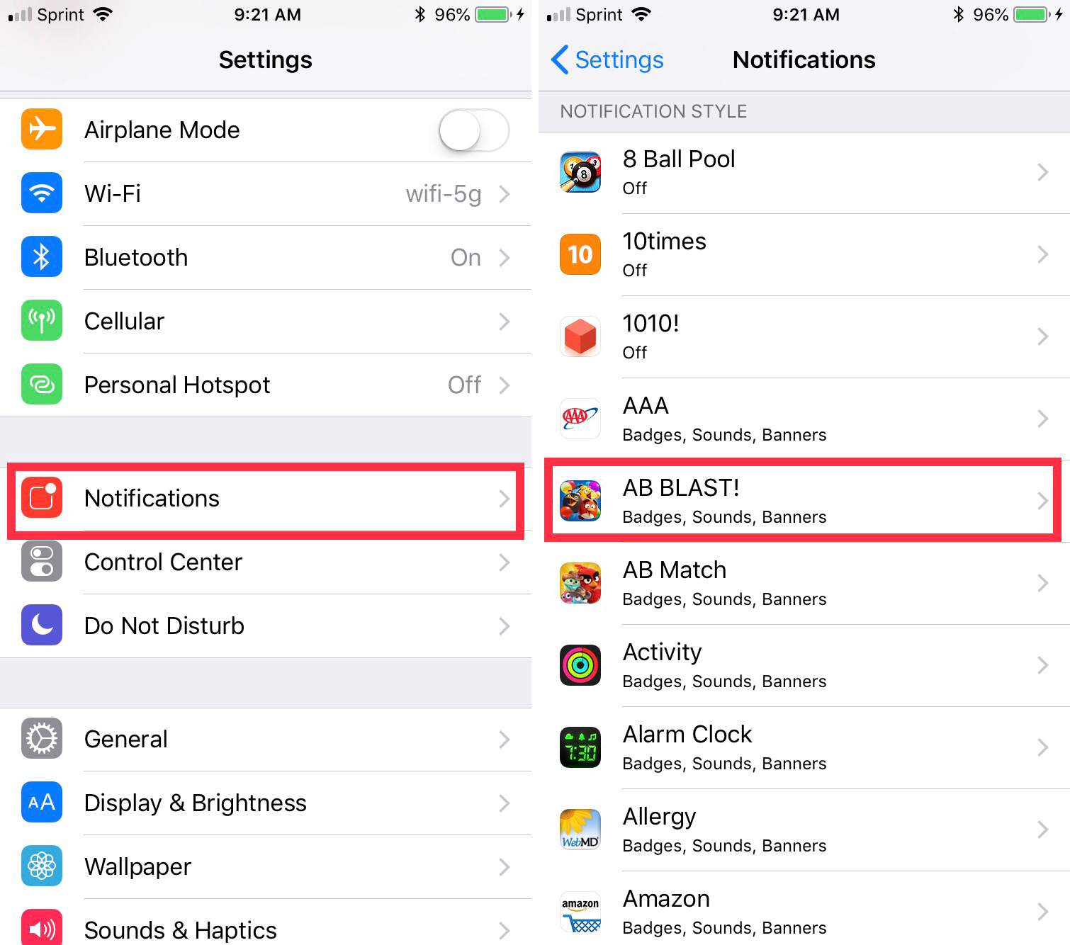 Settings Notifications App