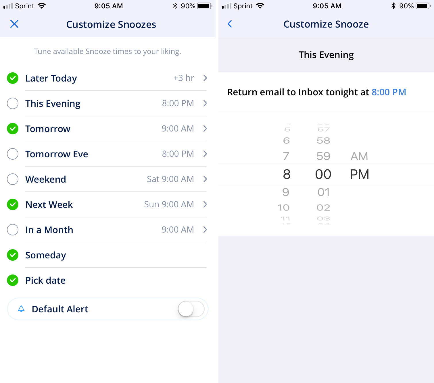 Spark email features - customize snoozes