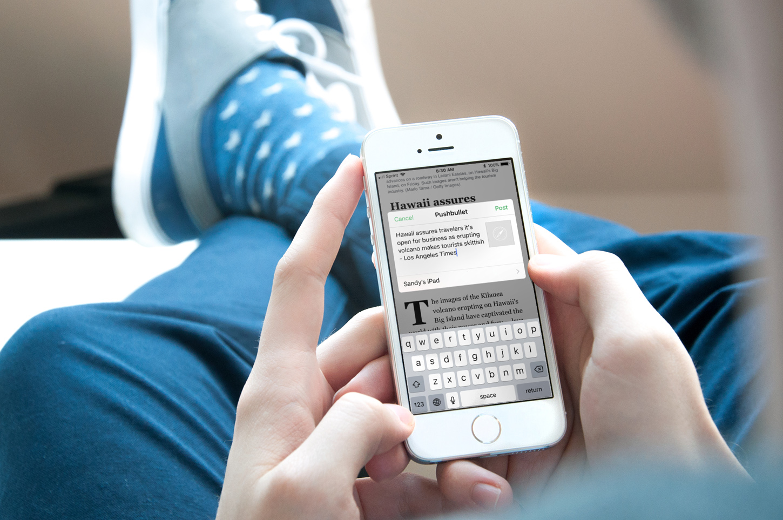 Using Pushbullet iPhone iOS Closeup