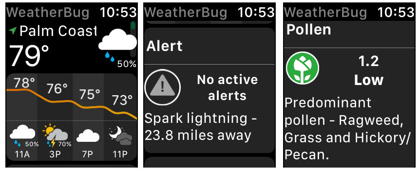 WeatherBug Apple Watch aplicaciones meteorológicas