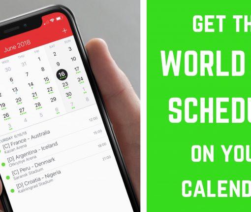 World Cup schedule on Calendar