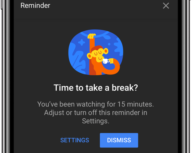 YouTube break time dismiss