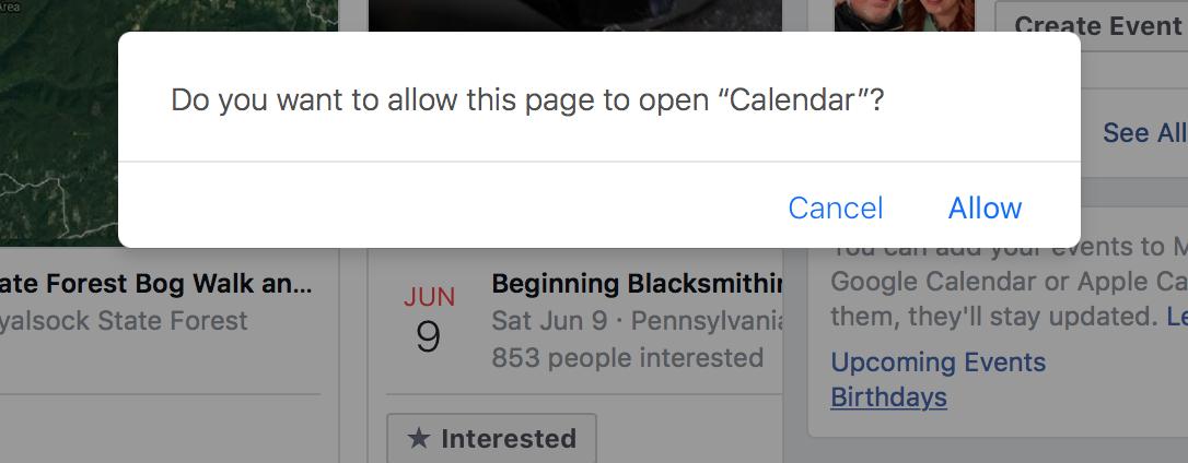 Facebook Calendar Popup
