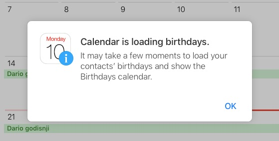 Apple Calendar birthdays loading message