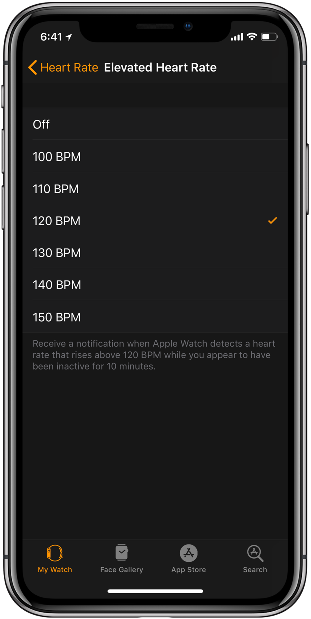 Elevated Heart Rate: iOS 11 Watch app