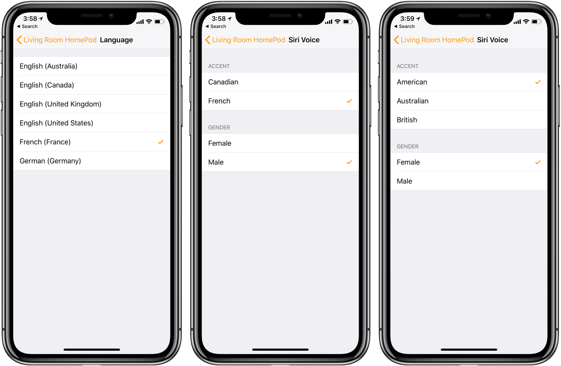 Siri HomePod German French Canadian English languages dialects settings